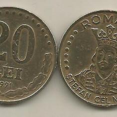 ROMANIA 20 LEI 1991 [2] livrare in cartonas - Moneda Romania, Fier