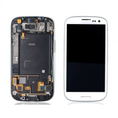 Ansamblu display touchscreen rama Samsung S3 i9300 alb original