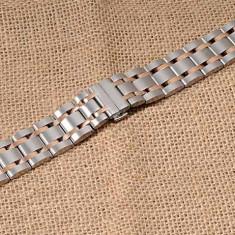 Bratara ceas otel inoxidabil 22mm capete curbate bicolora WZ1756