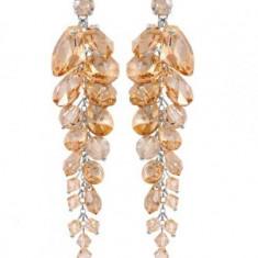 Cercei cu cristale swarovski GoldenShadow Waterfall 9 cm - Cercei Swarovski