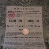 5000 Lei Aur Obligatiune Bucuresci extrem de rara 1898