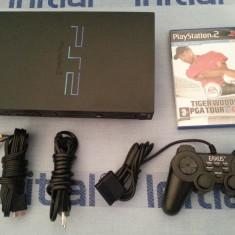 PlayStation 2 Sony cu maneta cabluri si joc original Tiger Woods consola PS 2 TV PS2