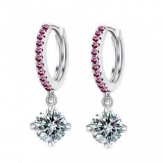 Cercei placati aur alb 18K si pietre roz si cristaline - Cercei placati cu aur