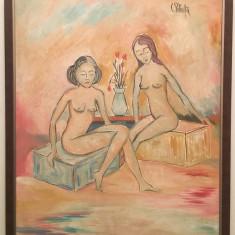Tablou - ulei pe panza – semnat C Piliuta - Pictor roman, Scene gen, Altul