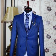 Sacou barbati, blue, Slim Fit, Ucu Dima, Cod: Sacou B. 930 Bleu (Culoare: Albastru, Marime Sacou: 46)