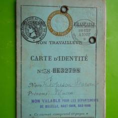 HOPCT FRANTA CARTE DE IDENTITATE /CARTE D IDENTITE -POPESCU BARAN MIRCEA 1938, Romania 1900 - 1950, Documente