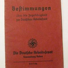 Carnet Regulament 1937 Germania nazista svastica