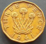 Moned 3 (Three) Pence - ANGLIA, anul 1941  *cod 868  --- GEORGIVS VI