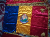 Steag, drapel , matase, brodat, RSR, Ceausescu, comunism, colectie, vechi, unic