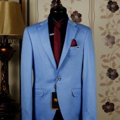 Sacou barbati, albastru, Slim Fit, Ucu Dima, Cod: Sacou B. 4132 Blue (Culoare: Albastru, Marime Sacou: 54)