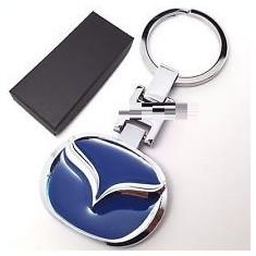 Breloc auto metalic pentru Mazda blue argintiu + ambalaj cadou