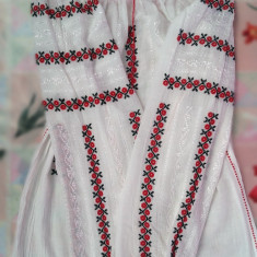 Ie tradițională cu mânecă lungă cusută manual - Costum populare, Marime: XL, Culoare: Alb
