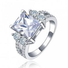 Inel placat cu argint si piatra mare cristal (Marime: nr.6) - Inel placate cu aur