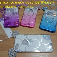 Husa silicon cu urechi de soricel IPhone 7 argintiu albastru roz si mov, iPhone 7/8