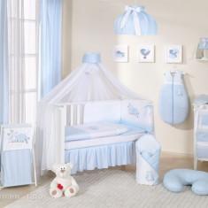Lenjerie patut 14 piese 120 x 60 cm Bird Cute Bird Blue Mamo-Tato - Lenjerie pat copii