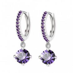 Cercei placati aur alb 18K si pietre violet - Cercei placati cu aur