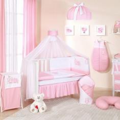 Lenjerie patut 14 piese 120 x 60 cm Bird Cute Bird Pink Mamo-Tato - Lenjerie pat copii