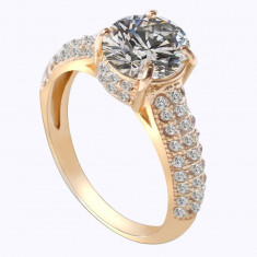 Inel logodna auriu cu piatra cristal transparenta (Culoare: Auriu, Marime: nr.6) - Inel placate cu aur