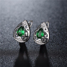 Cercei placati aur alb cu piatra verde - Cercei placati cu aur