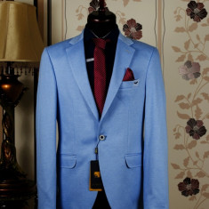 Sacou barbati, albastru, Slim Fit, Ucu Dima, Cod: Sacou B. 4132 Blue (Culoare: Albastru, Marime Sacou: 52)