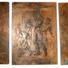 Morometii 5 imagini pe 3 matrite tipografice gravate pe placi de cupru - Pictor roman, Peisaje, Fresca, Realism