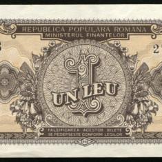 Y364 ROMANIA 1 LEU 1952 serie albastra aUNC APROAPE NECIRCULATA - Bancnota romaneasca