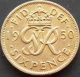 Moneda 6 (SIX) Pence - Marea Britanie / ANGLIA, anul 1950  *cod 2360