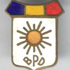 Insigna veche perioada regala  BPD - Blocul Partidelor Democratice, 1945