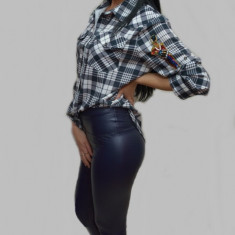 Pantalon modern din piele ecologica bleumarin usor captusit (Culoare: BLEUMARIN, Marime: 36) - Pantaloni dama