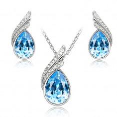 Lantisor placat cu argint si cercei piatra cristal albastra
