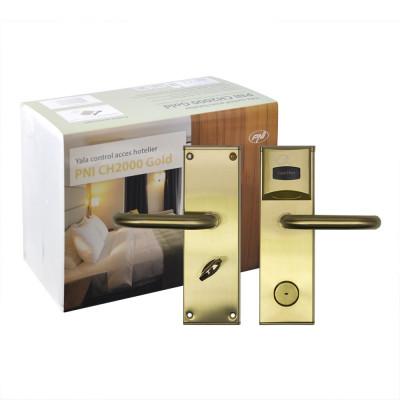 Resigilat : Yala control acces hotelier PNI CH2000R Gold cu cititor de card deschi foto