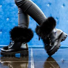 Bocanci dama UCU Dima All Black Fur, Cod:Cor.994 Black (Culoare: Negru, Marime Incaltaminte: 36)