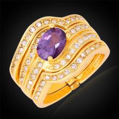Inel placat aur 18K si piatra violet - Inel placate cu aur