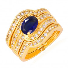 Inel placat aur 18K si piatra albastra - Inel placate cu aur