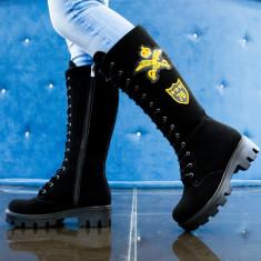 Ghete dama black suede army yellow, Cod:Cor.515 Black Suede (Culoare: Negru, Marime Incaltaminte: 40) - Gheata dama UCU Dima, Piele sintetica