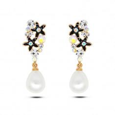 Cercei perla cu pietricele cristaline, placati cu aur 18K. - Cercei placati cu aur