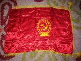 Steag, drapel matase, brodat, RSR, PCR, Ceausescu, comunism, colectie, vechi