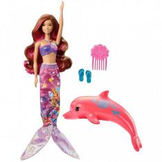 Papusa Barbie Sirena care isi schimba culoarea si Delfinul Magic