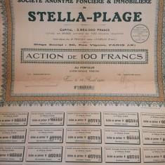 100 Franci actiune la purtator Stella-Plage Franta 1923