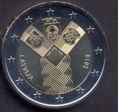 LETONIA moneda 2 euro comemorativa 2018_Statele Baltice - UNC foto