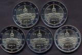 Monede GERMANIA 2018, 5x2 euro comemorative (ADFGJ) Palatul Charlottenburg - UNC, Europa, Cupru-Nichel