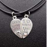 Pandantiv/lant cuplu nu te voi uita inima cu lacat si cheie dont forget me love