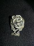 Inel vintage argintat,inel cu motiv floral superb,inel confectionat manual,T.GRA
