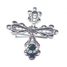 Brosa argint 925 cruce cu zirconiu verde
