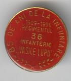 1909-1994 REGIMENTUL 36 INFANTERIE - VASILE LUPU - Insigna MILITARA RARA