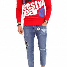 Bluza fashion barbati rosie cu scris - COLECTIE NOUA 9809 D3 - Pulover barbati, Marime: S, M, L, XL, Culoare: Din imagine, La baza gatului, Bumbac