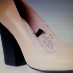 Pantofi cu toc din piele naturala Nude/Bej de la H&M - Pantof dama H&M, Marime: 37
