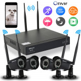 KIT 4 camere supraveghere WIFI de exterior cu NVR si mouse