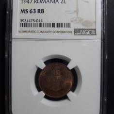 2 lei 1947 UNC NGC MS 63 - Moneda Romania