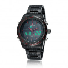 Ceas Luxury Naviforce 9024 Dual Time Subacvatic Japan MVT BARBATI CALENDAR LED, Casual, Quartz, Inox